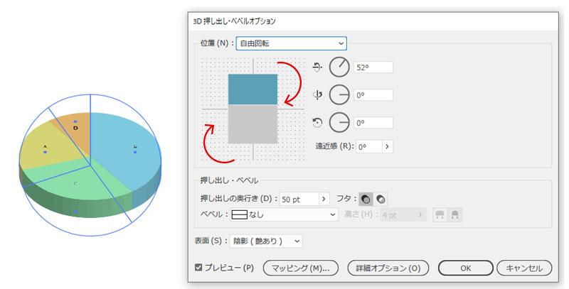 円グラフ(3D押し出し)